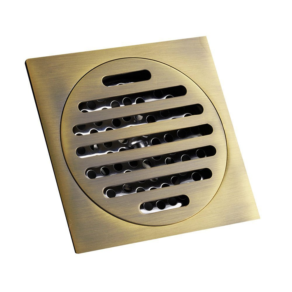 Vpang Square Bathroom Shower Floor Drain Anti-clogging Bathroom Tile Insert Floor Drainer with Removable Strainer Cover Chrome Finish, 4×4 Inch (Bronze)