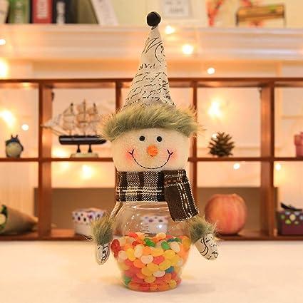 JUNMAONO Christmas Decoración, Tarro De Caramelo, Santa Tarro, Muñeco Botella, Navidad Decoraciones
