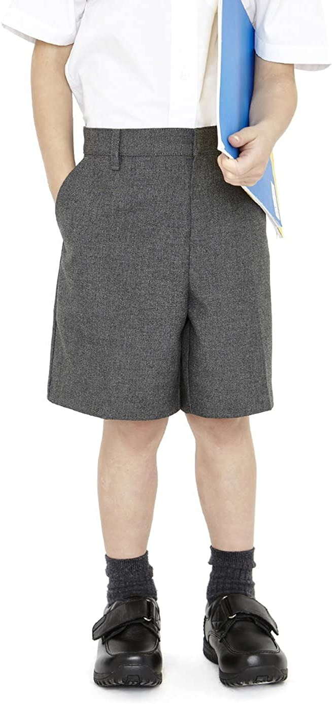 EX M/&S Boys Smart School Uniform Long Shorts Trousers Age 2-12 Years Grey Adjustable Waist