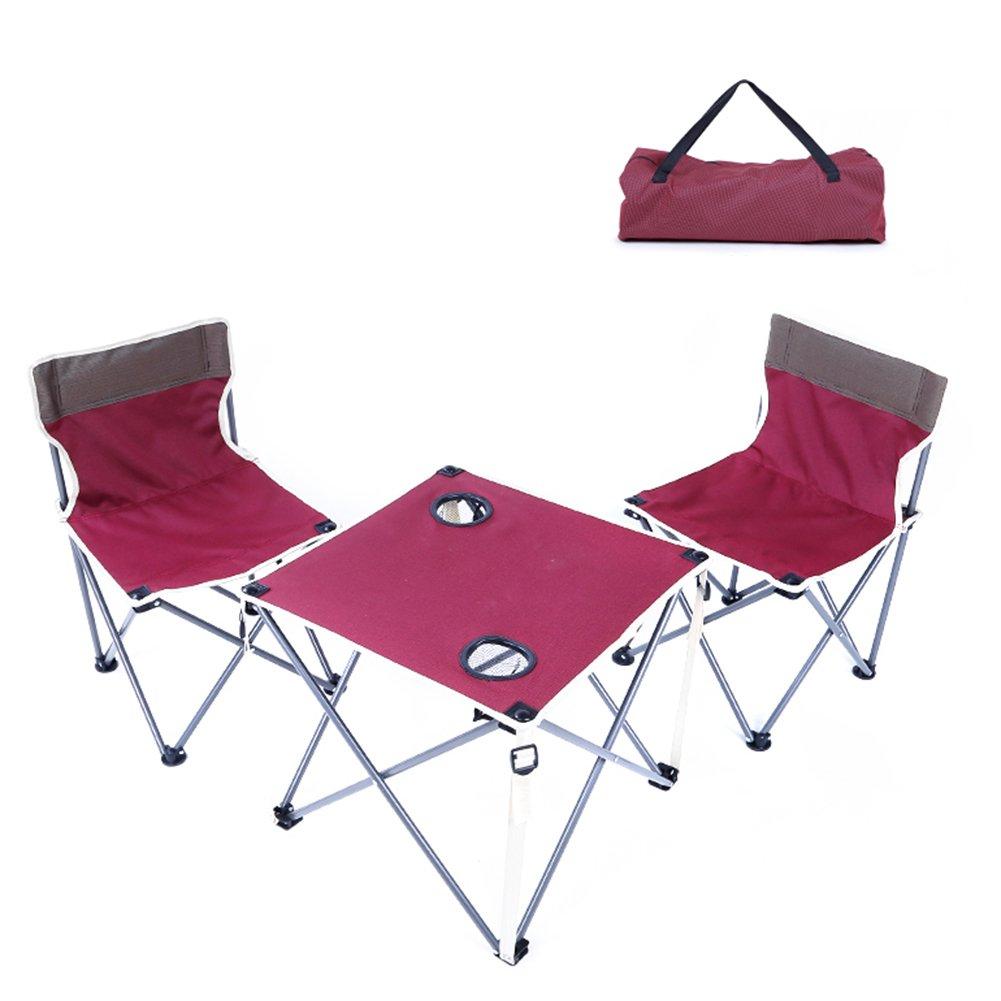 QIANGDA 屋外/アウトドア 折りたたみ テーブル椅子2脚付き カップの穴 多機能 トップテーブル 屋外 - 折りたたみ:63cm x 20cm、 重量仕様:4kg B07CN62FFR