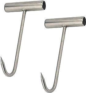 TIHOOD 2PCS Stainless Steel T Hooks T-Handle Meat Boning Hook for Kitchen Butcher Shop Restaurant BBQ Tool
