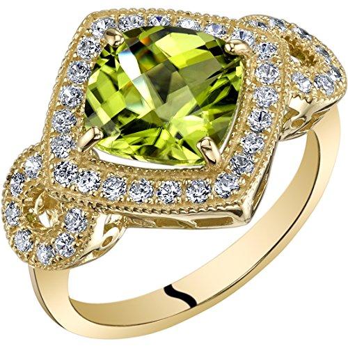 14K Yellow Gold Peridot Ring Cushion Cut 2.50 Carats size 6 Checkerboard Cut Peridot Ring