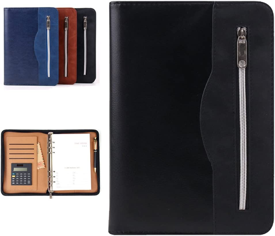 Lemical All-in-one Zipper Leather Journal Refillable Binder Notebook 160 Pages Portfolio Padfolio with Calculator & Card Slot & Pen Holder Notepad Business Travel Diary Office School Supplies