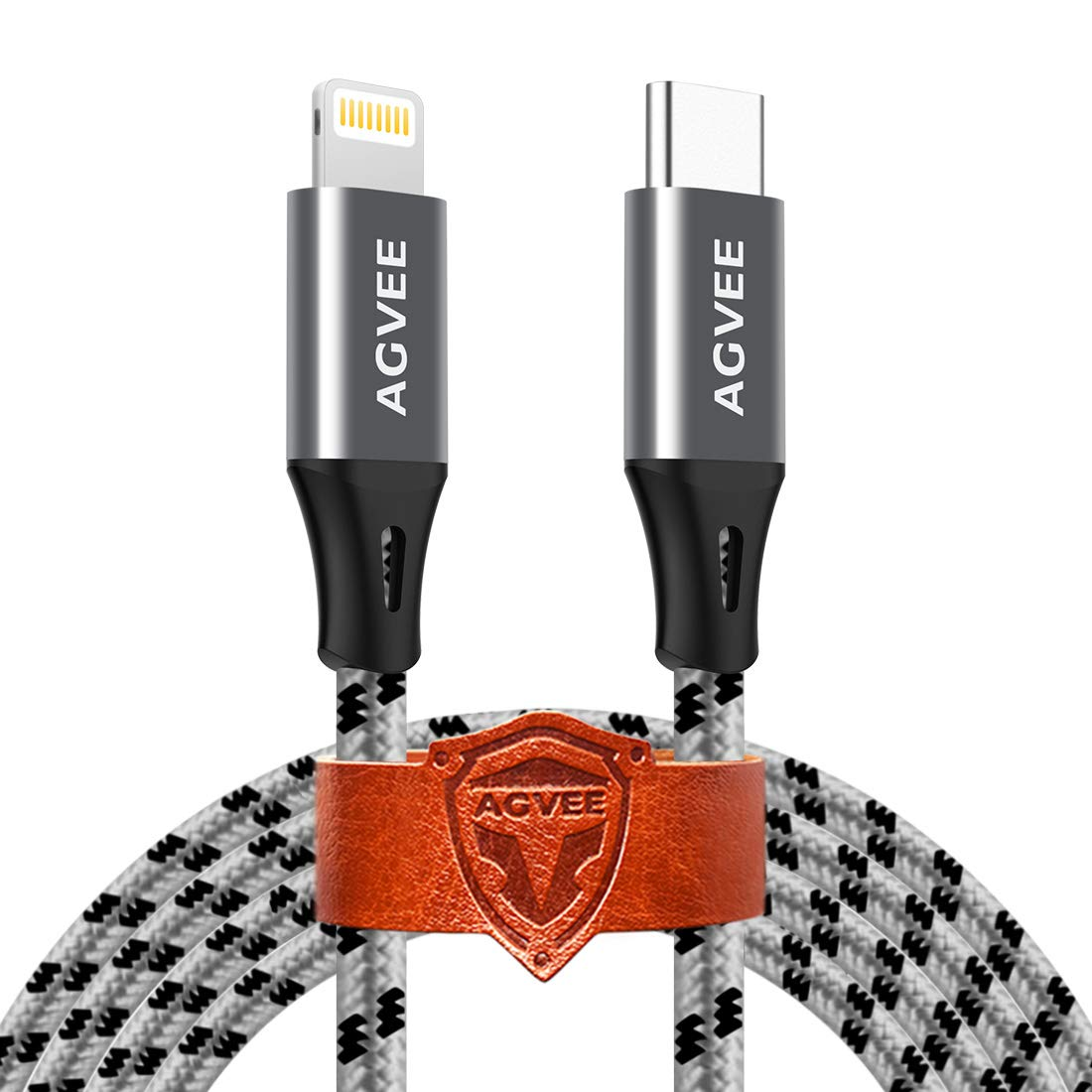 AGVEE [3 Pack 1.5ft] Short USB-C to Lightning Charging Cable, Seamless Type-C End, Braided Charger Cord i-Phone 8 Pin Wire for iPhone 12 11 Pro Max, 12 Mini 11Pro SE2, Case Friendly, Gray