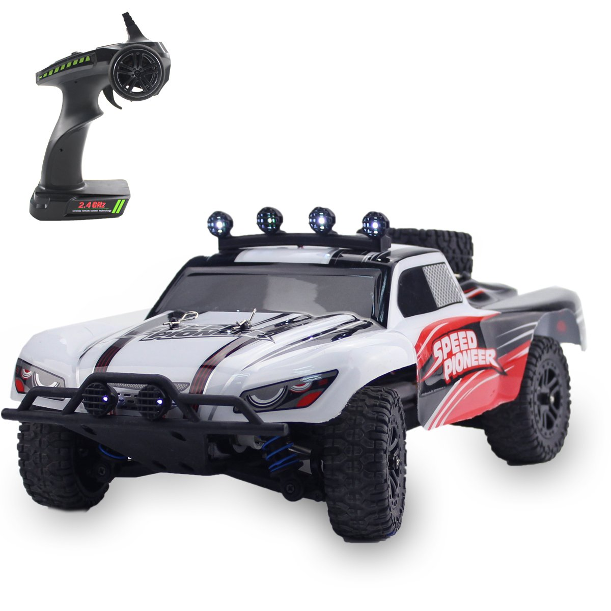 Fistone 1:18 RC Car RTR High Speed Racing Monster Truck 4WD Rock Crawler Off Road Dune Buggy Full Scale 2.4G Remote Control Hobby Toys for Kids & Adults with LED Lights (White)