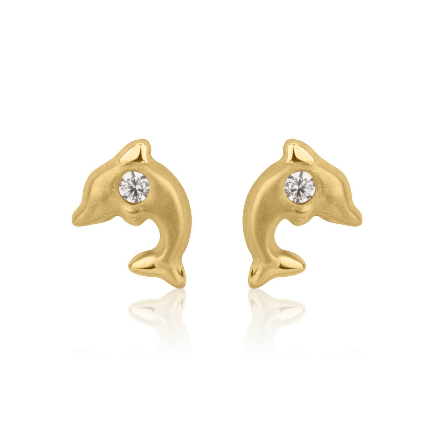 14K Fine Yellow Gold Cubic Zirconia Dolphin Screw Back Stud Earrings for Girls Kids Gift Children