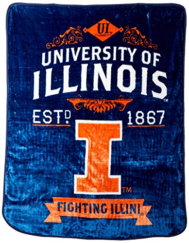 Officially Licensed NCAA Illinois Illini Label Plush Raschel Throw Blanket, 50