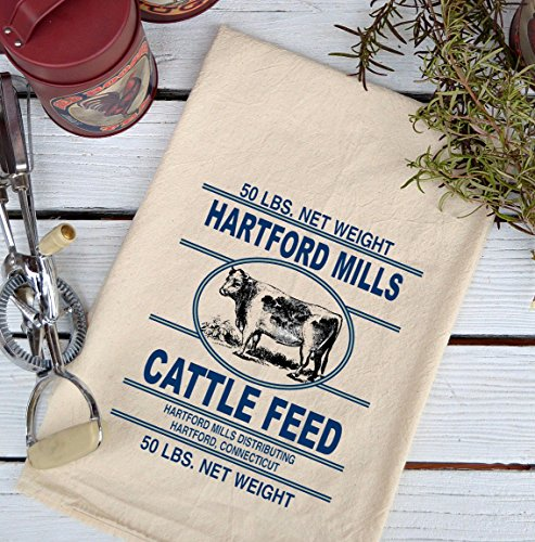 Farmhouse Natural Flour Sack Cow Hartford Mills Cattle Feed Country Kitchen Towel
