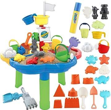 deAO Mesa de Agua y Arena Mesita Infantil para Juegos y Actividades Infantiles al Exterior Incluye Accesorios y Moldes con Diseño Multicolor: Amazon.es: Juguetes y juegos