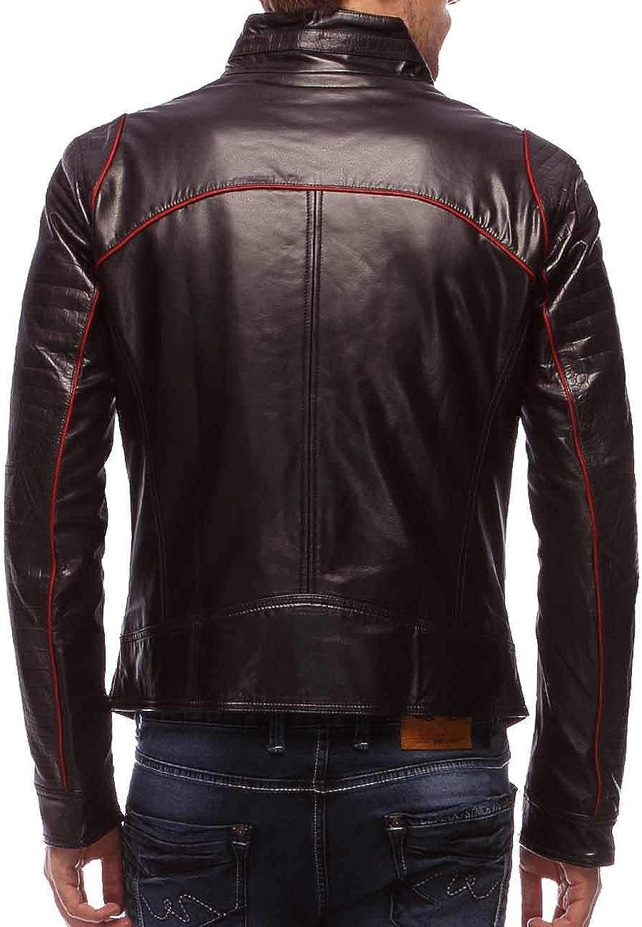 Mens Stylish Motorcycle Biker Genuine Lambskin Leather Jacket 175