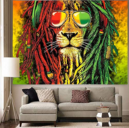 Simsant Rasta Rastafarian Tapestry Pigtails Lion Head Marley Bob Rastafarian Music Reggae Tapestry Wall Hanging for Living Room Bedroom Dorm SIZY0596 80