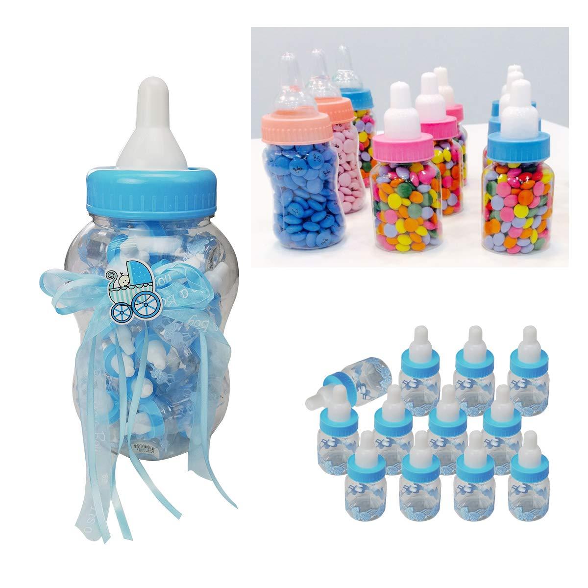50 piezas biberones botellas regalo de ni/ño,Ideal para bautizo,comunion,cumplea/ños,fiestas,nacimiento,dulces porta dulces confeti regalo-Azul Grande