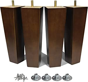 AORYVIC Wood Furniture Legs 8 inch Sofa Legs Set of 4 Square Replacement Legs Brown for MCM Ottoman Armchair Recliner Coffee Table Dresser