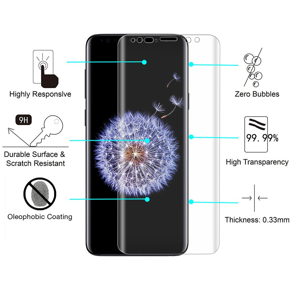 Galaxy S9 Plus Screen Protector, NOKEA Tempered Glass [Crystal Clear] [3D Curved Glass] [Full Coverage] [Easy Bubble-Free Installation] [Scratch Resist] for Samsung Galaxy S9 Plus-Clear (2 Pack) by NOKEA (Image #4)