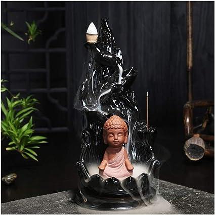 家庭用アロマディフューザー 創造的なお香サンダルウッドアロマセラピー炉装飾リフロー (Color : Black)