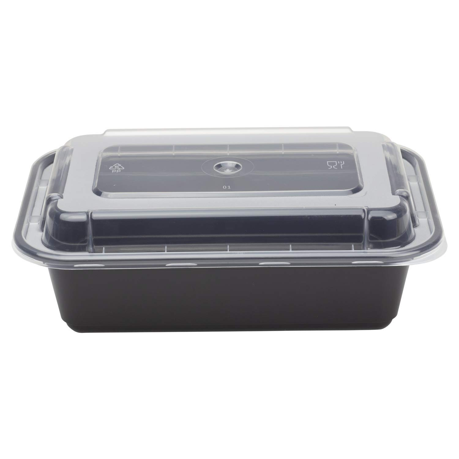 Karat IM-FC1024B 24 oz. PP Injection Molding Microwaveable Food Containers with Clear Lids, Rectangular - Black (Case of 150)