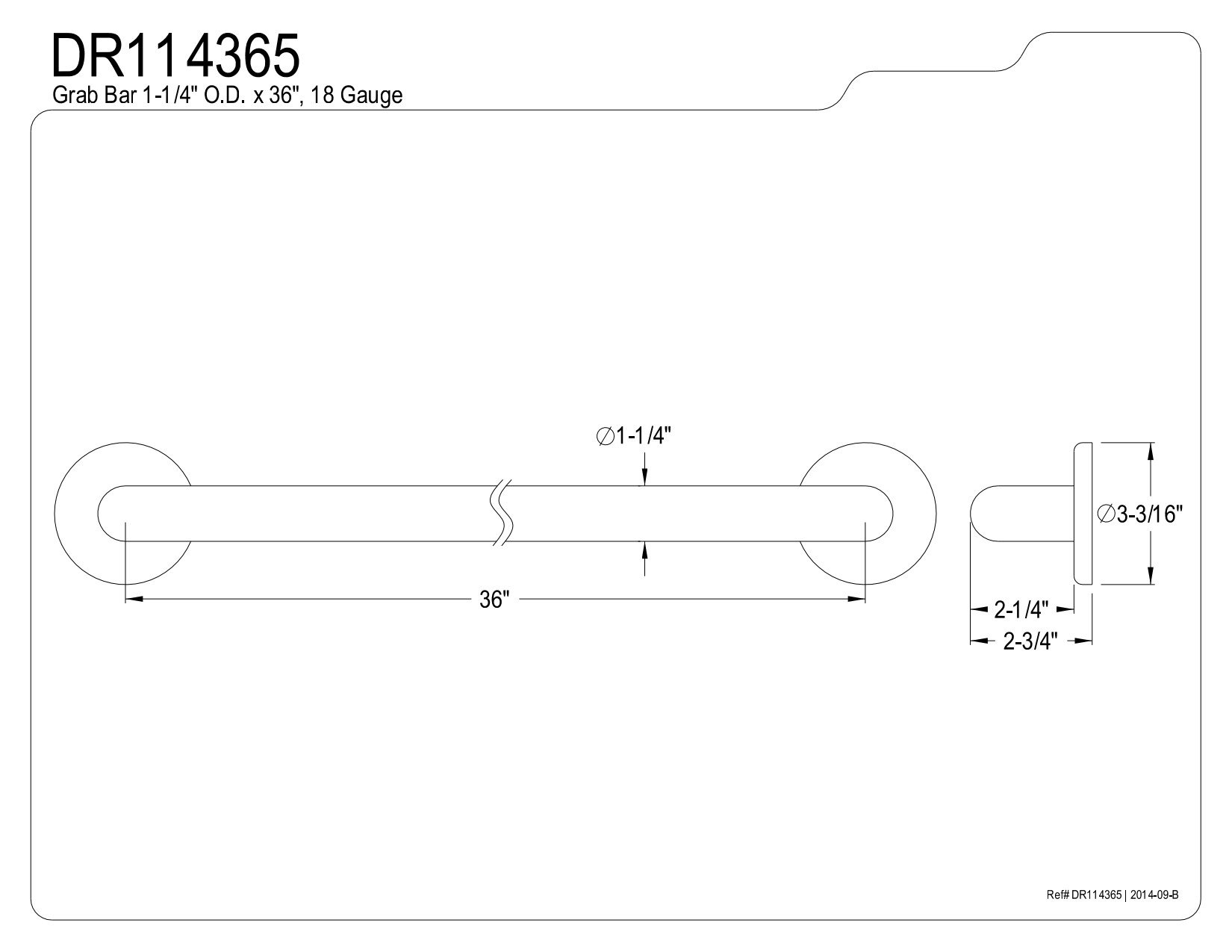 Kingston Brass DR114365 Designer Trimscape Americana Decor 36-Inch Grab Bar with 1.25-Inch Outer Diameter, Oil Rubbed Bronze