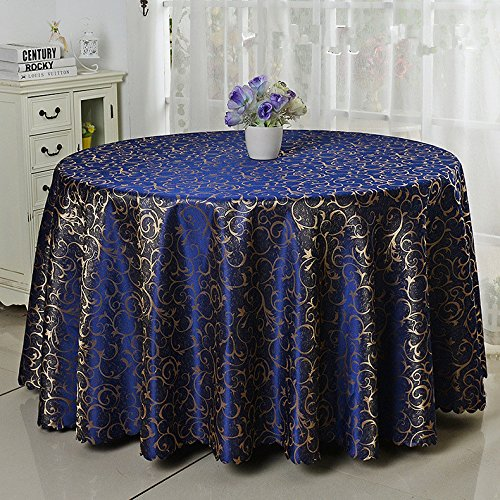 Damask Overlays (Eforcurtain Modern Damask Tablecloth Jacquard Overlay Table Cover Round 70-inch, Navy)