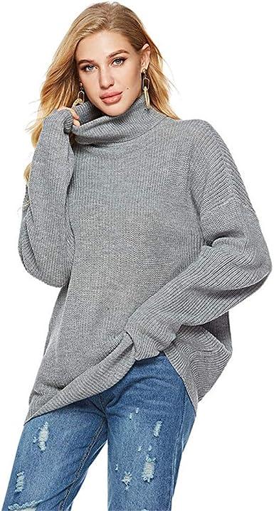 Mujer Delgada Manga Larga Falsa Tortuga Cuello Knit Jersey ...