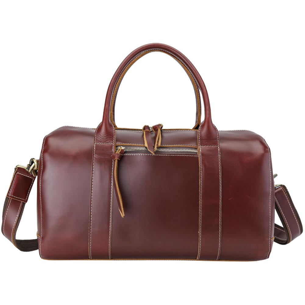 Mens Real Leather Large Duffel Bag, Berchirly Business Outdoor Travel Duffel Brown
