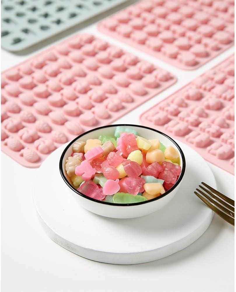 Chocolate Gelatina Galleta Moldes de silicona para Dulces Gummy Bear Moldes Bandejas de Cubitos de Hielo Moldes de Gelatina de Goma Colorida de 4 PCS con 2 Cuentagotas para Suave Pastel Jab/ón