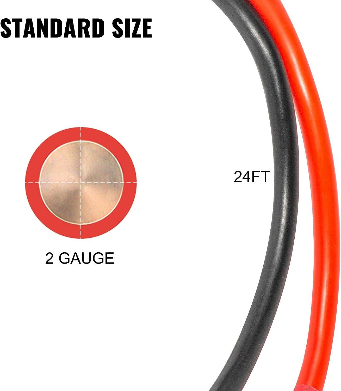 Conector de Cabrestante con Cable Cables de Arranque con Pinzas 24 pies VEVOR Juego de Cables de Bater/ía de Arranque Conector de Cabrestante para Camioneta//Cami/ón//SUV//Autom/óvil AC//DC 175