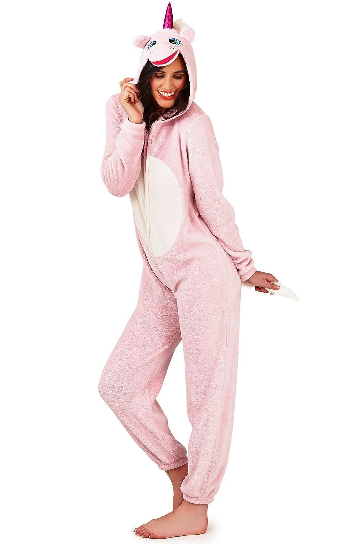 Womens Unicorn Onesie Ladies Pyjamas 3D Ears Horn & Tail All In One Loungewear