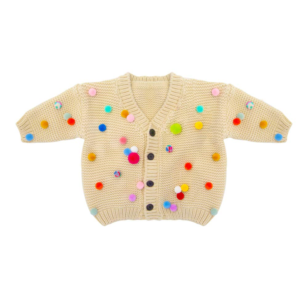 Bunniee Baby Cardigans Little Girl Cardigan Sweaters Long Sleeve Knitwear Warmer Outwear Coat Jacket V-Neck Button Down Handmade Pompom