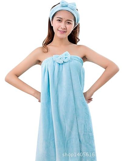 ZiXing Juego de toalla de bow para mujer, albornoz de baño, toalla de baño, toalla de baño, diadema de lazo azul OneSize: Amazon.es: Ropa y accesorios