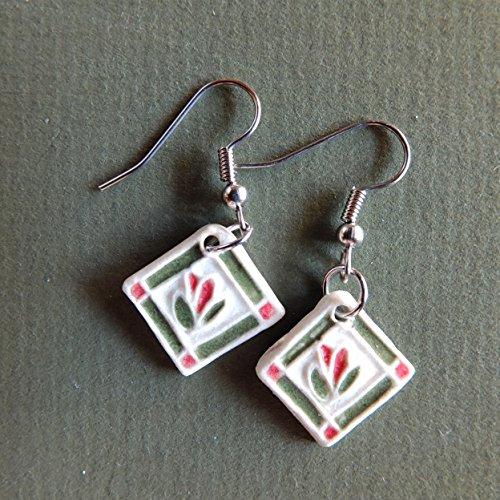 Patchwork Quilt Block Earring, Red Flower Applique.