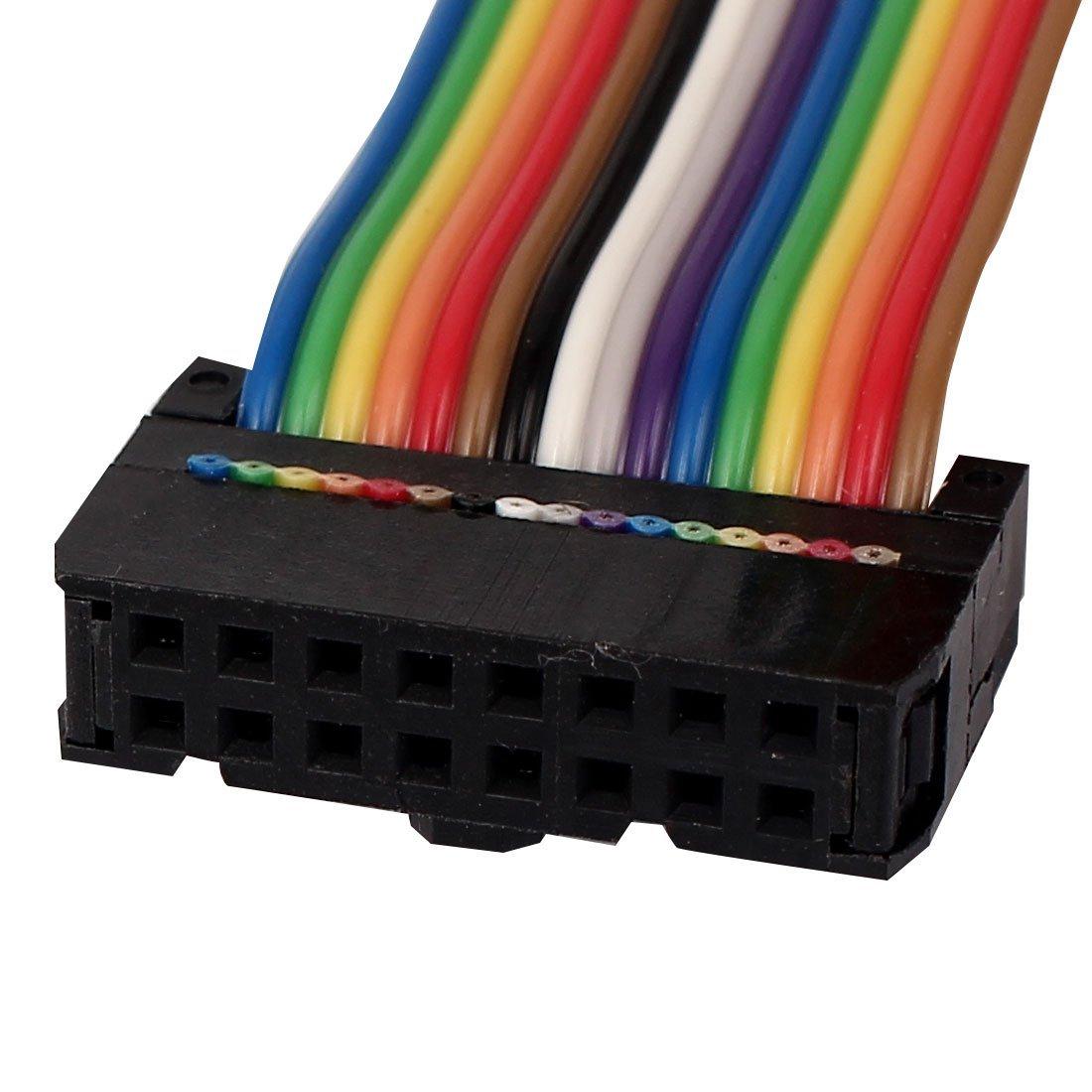 eDealMax connettore IDC cavo a nastro, 50 cm, 16 pin, 16 Way, F/F, Colore dell'arcobaleno per DIY, 2 pezzi