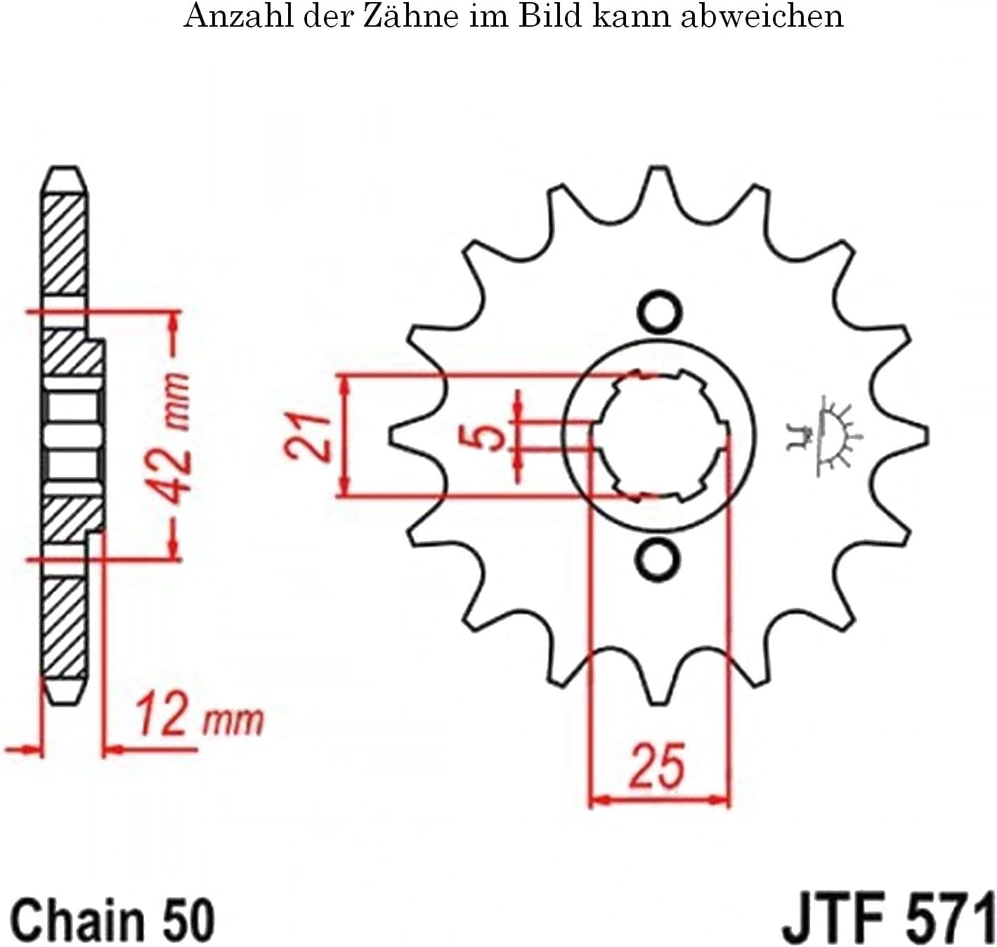 Ritzel 15 Z/ähne f/ür XJ 600 H Baujahr 1984-1991 von jtSprockets