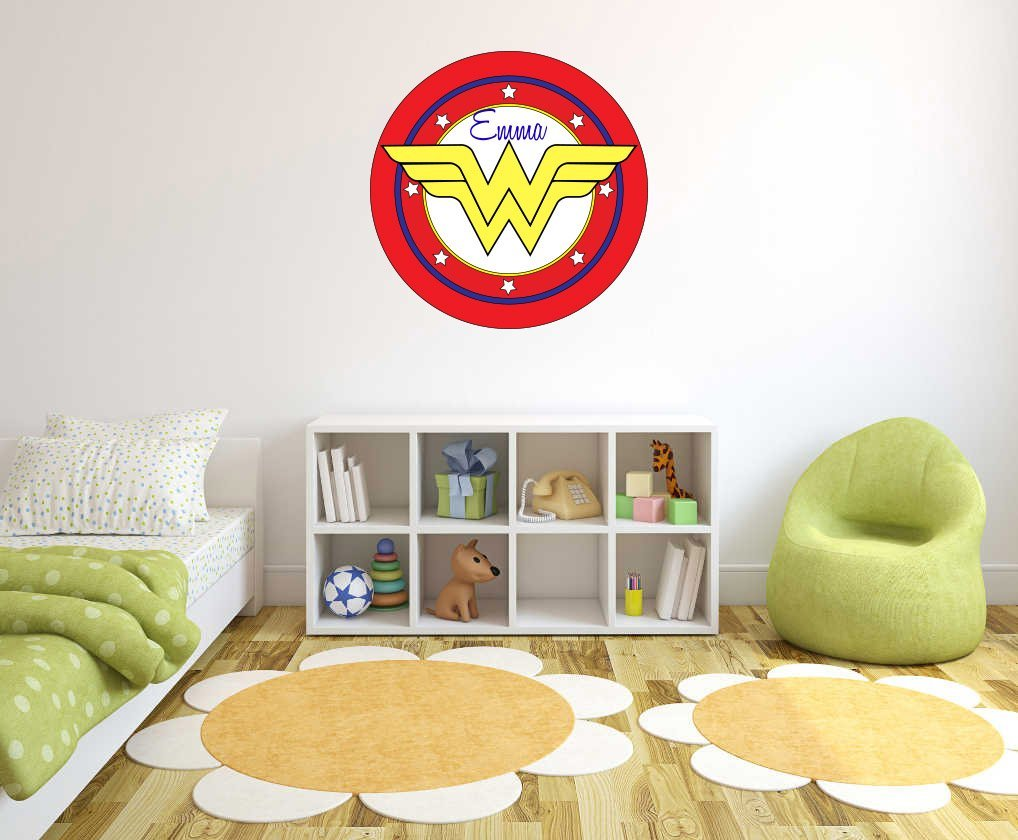 Customs Name Wonder Women Logo - Personalized Girls Superhero Name - Wall Decal for Nursery Decoration - Bedroom playroom Decoration (Wide 20''x20'' Height Inches)