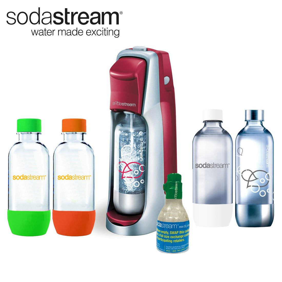 SodaStream Fountain Jet Soda Maker in Red with Exclusive Kit 4 Bottles & Mini CO2