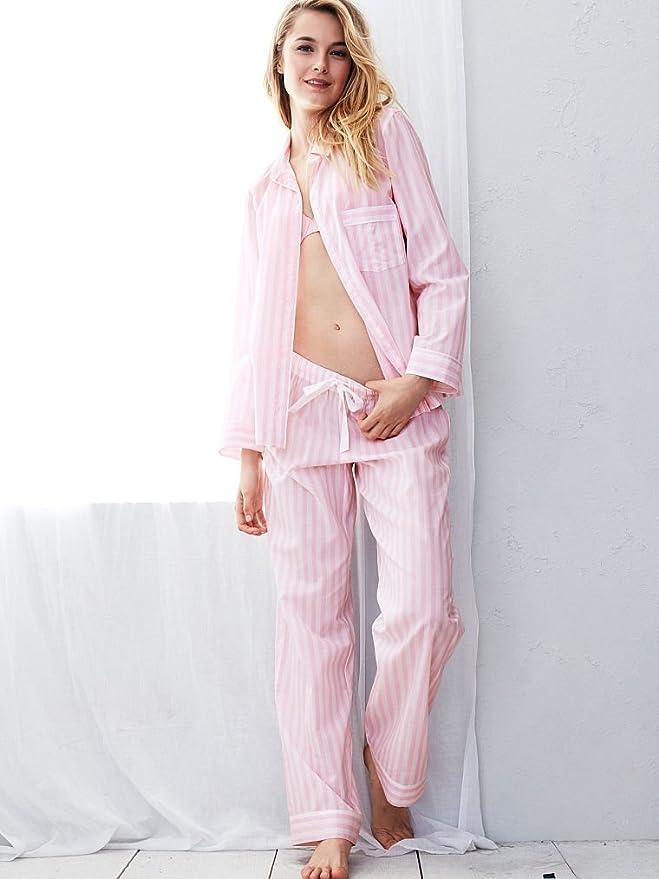 Victoria s Secret rosa de la mujer el algodón Mayfair juego de pijama rosa rayas: Amazon.es: Ropa y accesorios