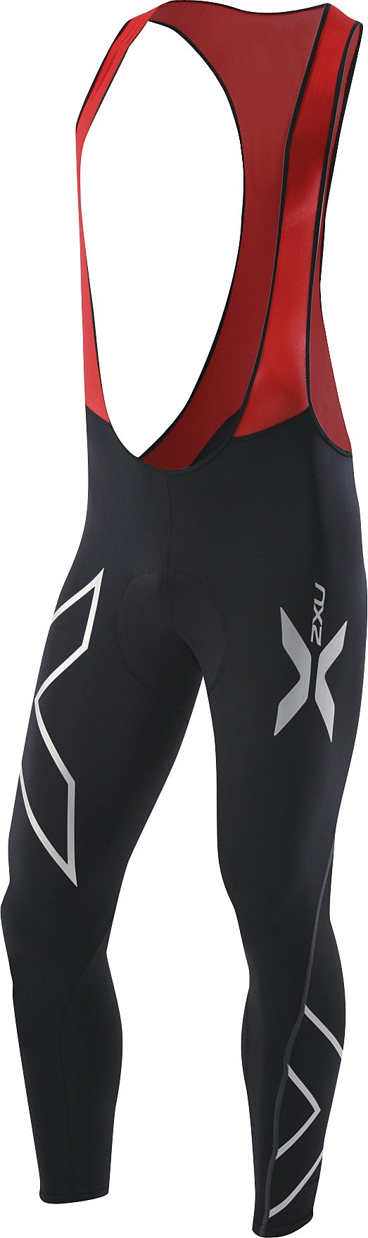 2XU Men's Compression Cycle Bib Tights, Black/Red, Small