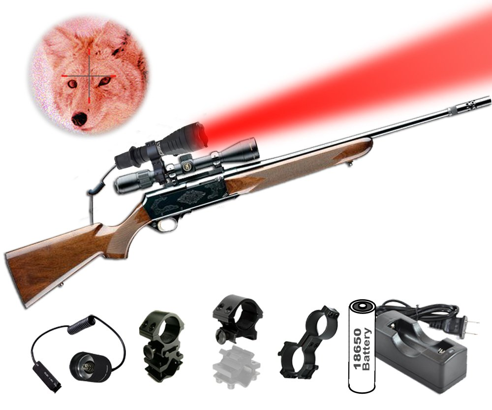 Orion Predator H30 Red 273 yards Long Range Rechargeable Coyote Fox Varmint Night Hunting Light Flashlight with Scope mount, Rail Mount, Barrel Mount, Remote Pressure Switch & Charger Kit by ORION