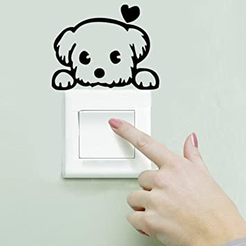 Tenworld Dog Wall Stickers Light Switch Decor Decals Art Mural Baby Nursery  Room (B)
