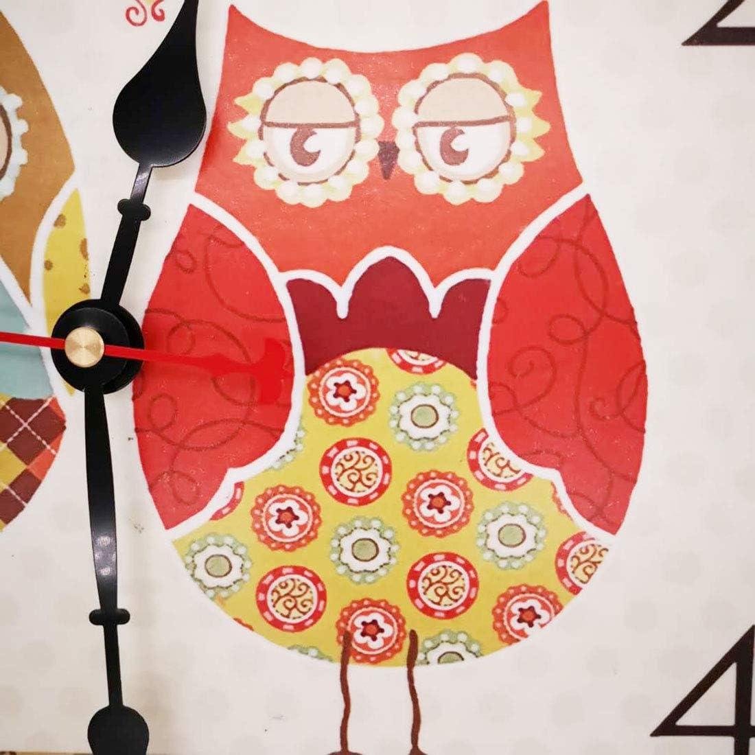 Vintage Colorful Francia Parigi Stile Francese del Paese Toscano di Numeri Arabi Design Silenzioso Orologio da Parete in Legno Home Decor VieVogue Orologio da Parete Famiglia Gufi, 30cm