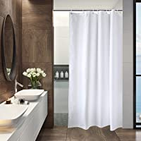 Aoohome Fabric Shower Curtain 36 x 72 Inch Stall Size Bathroom Curtain for Hotel, Mildew Resistant & Waterproof, White