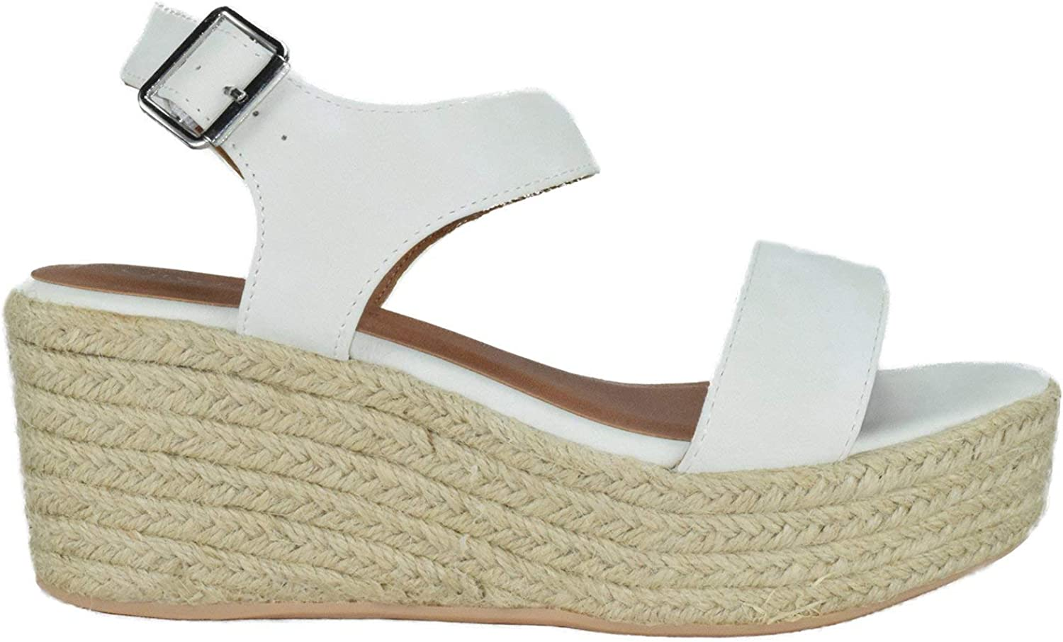 City Classified Womens Wedge Espadrilles Jute Rope Trim Ankle Strap Open Toe Sandals