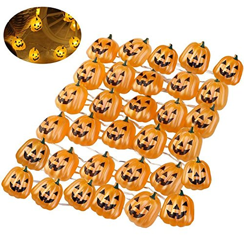 [TRNS Halloween Pumpkin String Decoration Lights 40 LEDs with 3 Meters Battery Operated With Remote & Timer] (All That Jazz Single Chain)