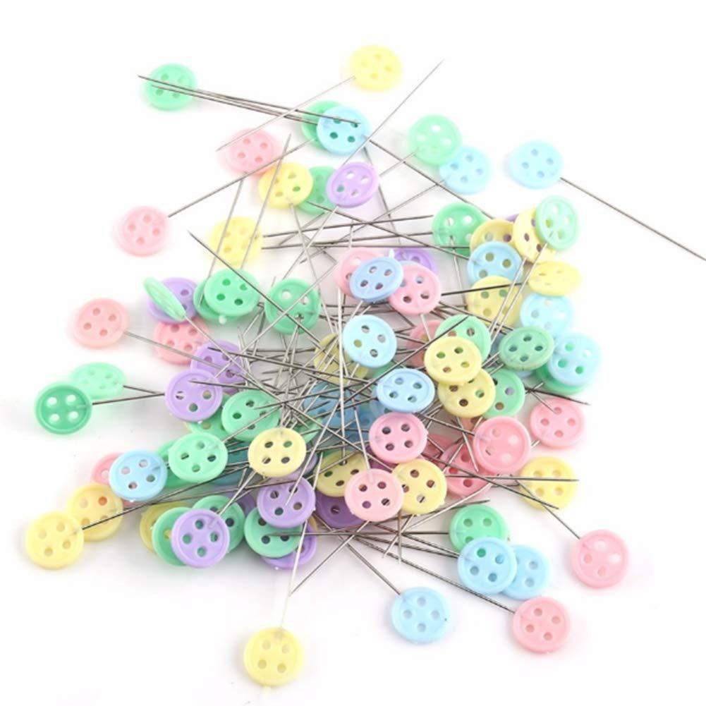 NiceButy 100 unidades botón plano de cabeza tipo alfileres de costura del remiendo Pines para bricolaje proyectos de costura (colores surtidos) Herramientas ...