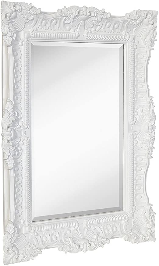 Amazon Com Hamilton Hills Large Ornate White Gloss Baroque Frame Mirror Aged Luxury Elegant Rectangle Wall Piece Vanity Bedroom Or Bathroom Hangs Horizontal Or Vertical 30 X 40 Home Kitchen