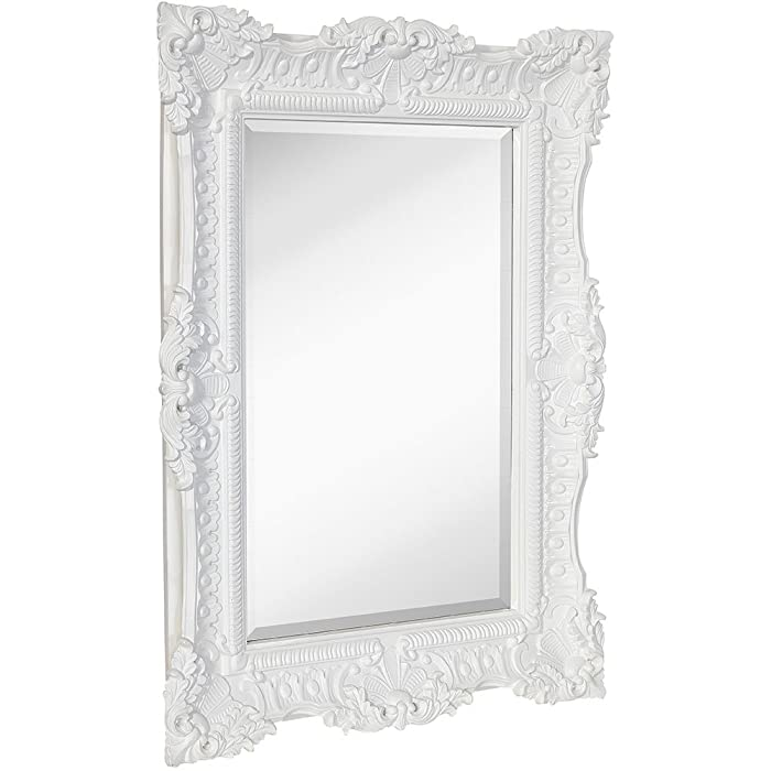 "Hamilton Hills Large Ornate White Gloss Baroque Frame Mirror | Aged Luxury | Elegant Rectangle Wall Piece | Vanity, Bedroom, or Bathroom | Hangs Horizontal or Vertical | 100% (30"" x 40"")"