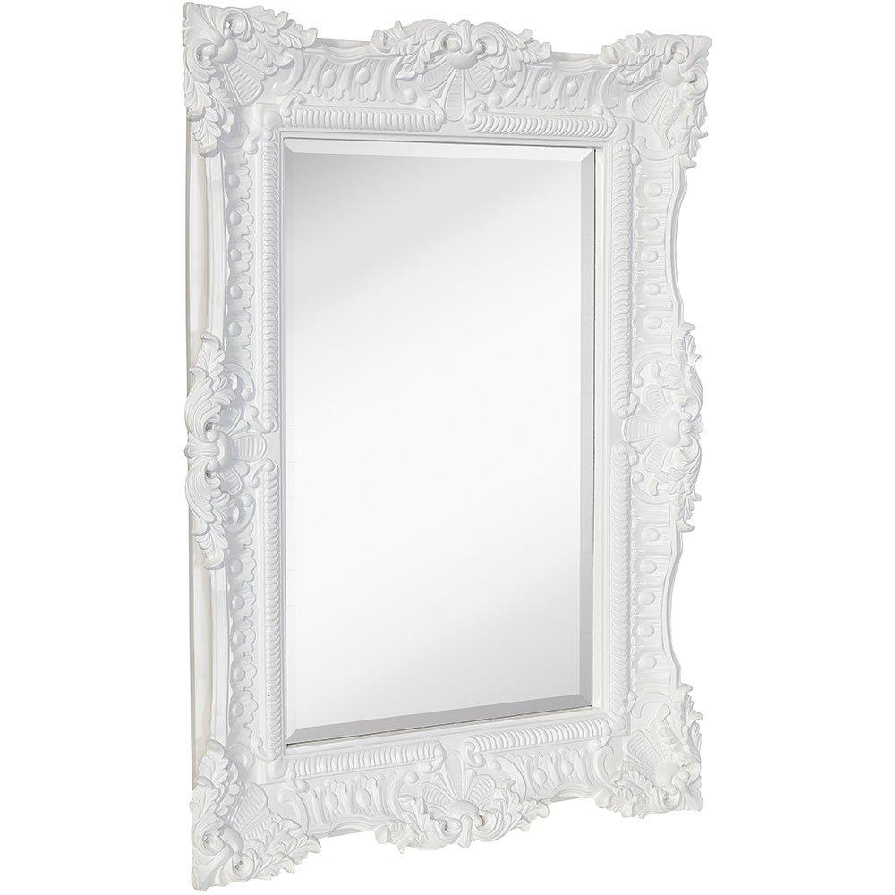 Large Ornate White Satin Baroque Frame Mirror | Aged Luxury ...