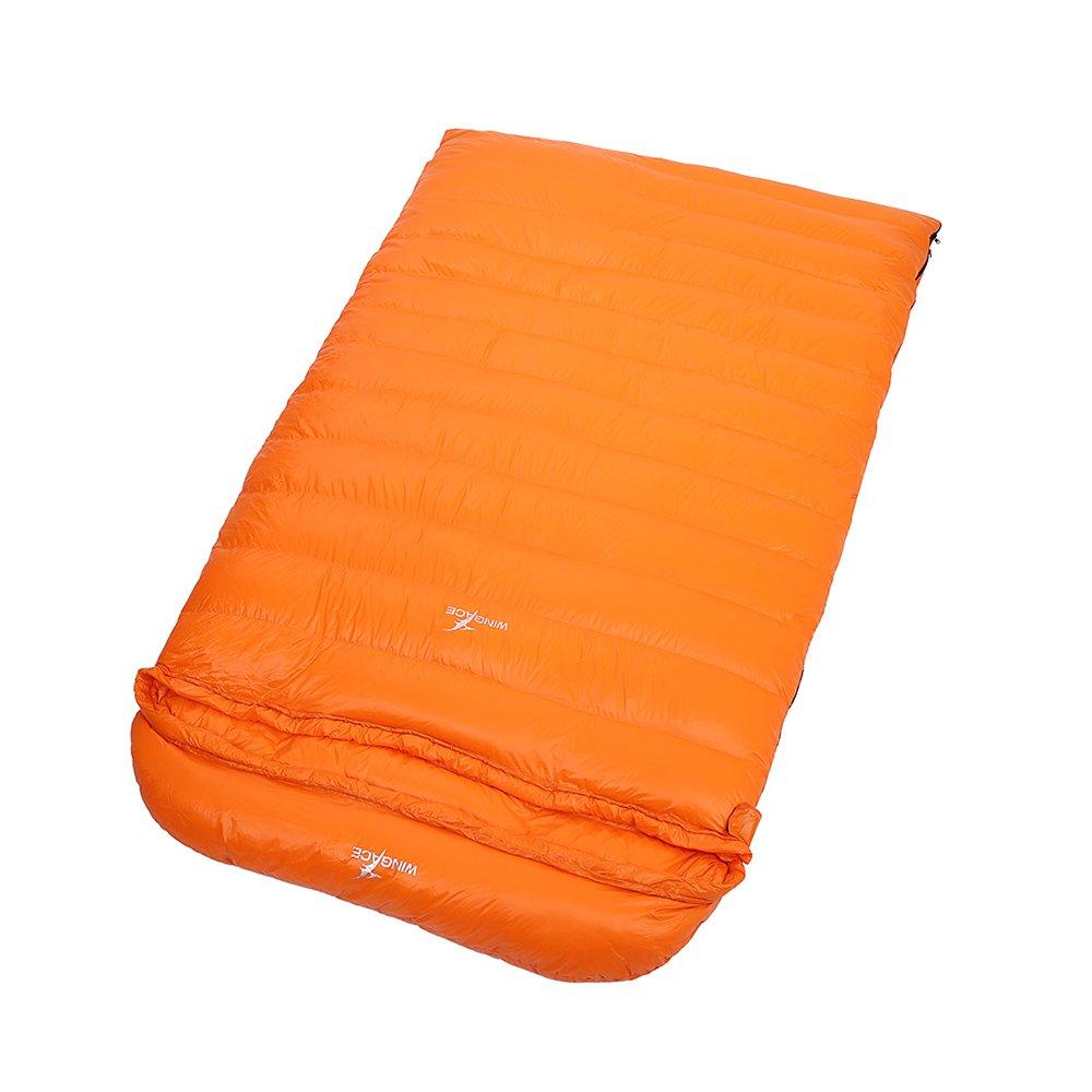 WINGACE 20度ダックダウンダブルスリーピングバッグ、2000g充填、封筒、超軽量、圧縮サック付き B01N9S2MXC オレンジ オレンジ
