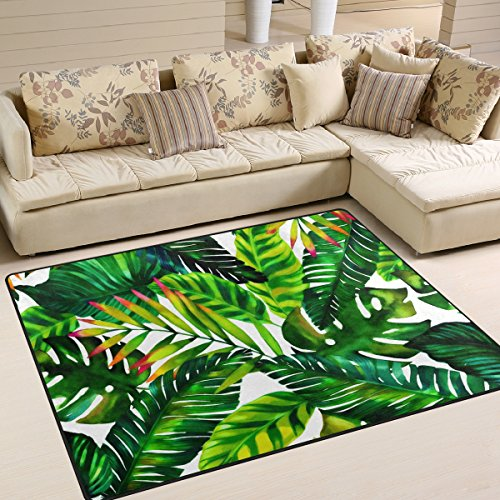 Naanle Tropical Green Leaves Area Rug 5'x7', Watercolor Painting Polyester Area Rug Mat Living Dining Dorm Room Bedroom Home Decorative