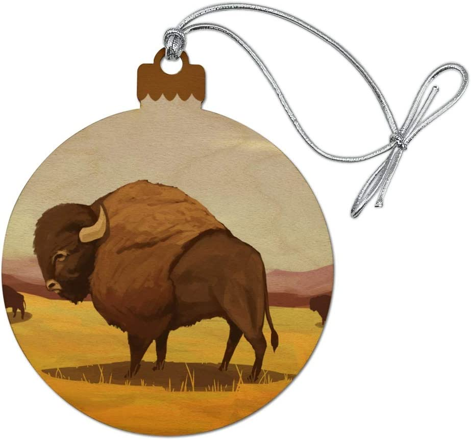 GRAPHICS & MORE American Bison Buffalo Herd on The Plains Wood Christmas Tree Holiday Ornament