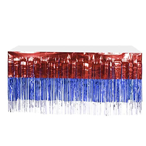 4th of July Table Skirt Foil Fringe Table Skirt Patriotic Party Table Skirts Blue Red Table Skirt with Rain Curtain for Wedding Hawaiian Party Amosfun 2pcs Tablecovers for Parties